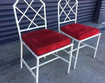 Vintage Pair of Kessler Faux Bamboo Cast Aluminum Chairs