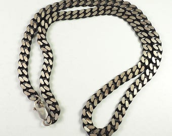 Blackened sterling silver heavy modern chunky curb chain necklace