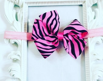 Pink And Black Hairband, Girl's Pink And Black Hair Bow ,Girls 4 inch Hair Bows, Girl's Hair Accessories, Newborn Hairband, Newborn Bows