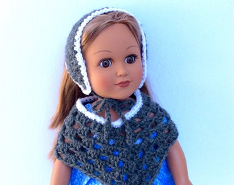 18 Inch Doll Gray Poncho and Hat, Crocheted Poncho Gray with White Trim