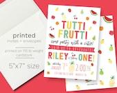 Tutti Frutti Birthday Invitation PRINTED INVITATIONS Watercolor Berry Invite Berry First Birthday Fruit Birthday Invite Apple Strawberry