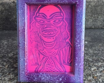 FRAMED Creature from the Black Lagoon Original Mini Print, Ready to Ship, Unique Spraypainted Frame