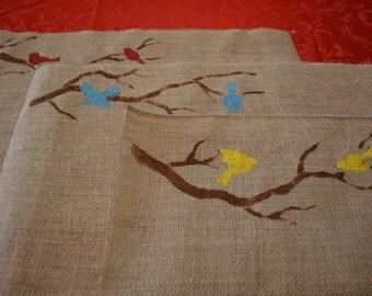 Burlap Bird Placemats / Bird Placemats / Red Bird Placemat / Spring Placemat