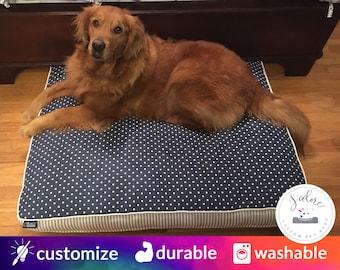 Navy Blue & White Dog Bed with Insert | Polka Dot, Ticking | Fiberfill or Foam Insert Included
