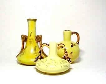 Vintage Bud Vases, Yellow Bud Vases, Gold Gilt, 3 Yellow Gold Bud Vases, Yellow Decor Accents, Gold Gilt Vase, Yellow Vase, Mid Century Vase