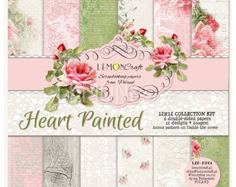 LemonCraft Paper Collection /  Heart Painted / 6 Sheets / 12x12 Scrapbook Paper / Pattern Paper / Scrapbook Kit / Mixed Media / Shabby Chic