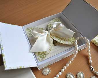 Luxury Invitations Boxes. Magnetic Closure Gate Fold Green and White Invitation Boxes  (STOCK CLEARANCE)