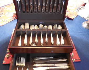TWO SETS for the price of one! 1941 Gardenia 48 Piece Dinner Set & 38 Piece Grille/Luncheon Set Made by Wm Rogers