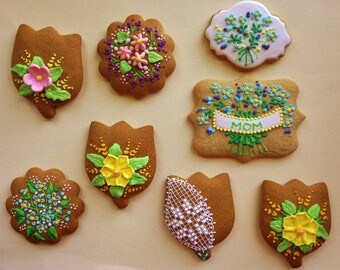 Spring flowers!!Icing decorated Hungarian gingerbread cookies (3 pieces)