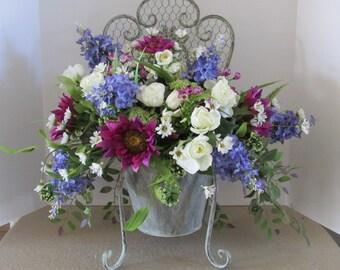 Spring Floral Design In Chair Planter, Silk Flower Spring Arrangement, Home Decor Floral In Metal Planter Chair