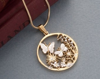 Butterfly Pendant & Necklace, Butterfly Medallion Hand Cut, ( # 681 )