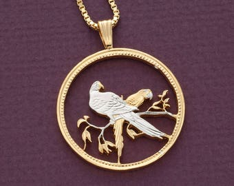 """Macaws Pendant & Necklace, Belize One Dollar hand Cut Coin, 14 Karat Gold and Rhodium Plated, 1 1/4"""" Diameter ( # 32 )"""