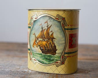 Tin Ship Canister