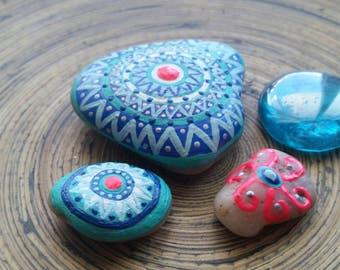 Painted rocks, stones, gift idea, blue, meditation, reiki