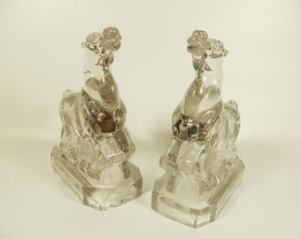 Vintage Mid Century Glass Horse Book Ends