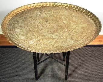 Vintage Mid Century Brass Tea Table