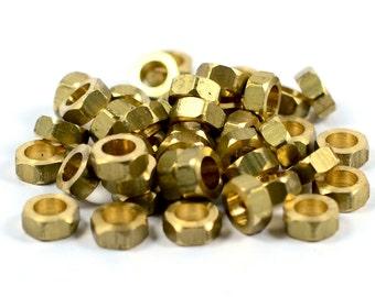 30 Pcs. Raw Brass 3x7 mm Industrial Small Hexagon Findings , İnside Diameter 4.5 mm