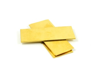 """5 Pcs. Raw Brass Blanks 1""""x2"""" -18 Gauge (1 mmThick ) Stamping Blanks 25x50 mm )"""