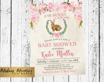 Easter Baby shower, Girl Easter shower, Spring baby shower invitation, Watercolor, girl baby Shower, blue baby shower,