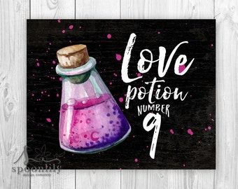 Love Potion Number 9 Art Print, Potion Bottle Art, Halloween Poster, Halloween Party Decor, Potion Art Print, Witch Love Spell