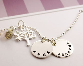 FAMILY tree NECKLACE, jewellery engraving, tree of life
