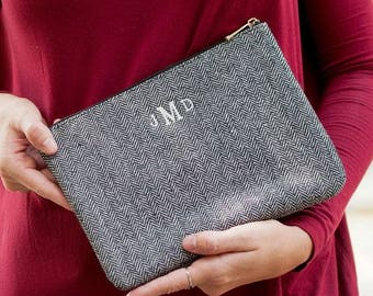 Personalized Cosmetic Bag Gray Herringbone Monogrammed Makeup Case