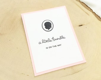 Vintage Baby Girl Card, A Little Bundle is On the Way, New Baby Card, Congratulations Baby Card, Handmade Baby Shower Card