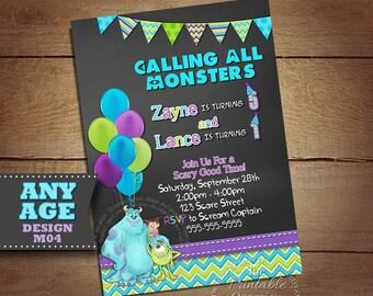 Monster Inc Invitation for Twins or Siblings, Monsters Inc Photo Invitation, Monster Birthday Party, Printable Monster University Invitation