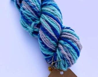Sparkle Blue - Seafoam Green - Bulky Yarn Handspun 3ply