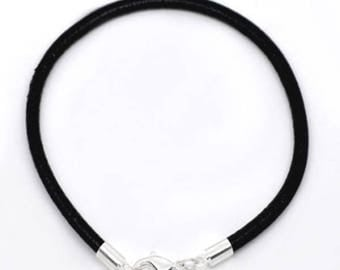 Black leather strap with silver plated clasp, 20 cm long