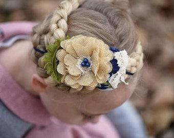 Beige Burlap Flower Headband , Olive Navy Beige headband , Rosettes headband