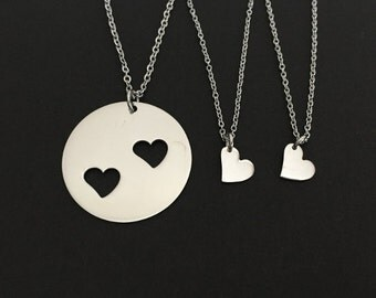Three Heart Necklaces. Personalized Heart Necklace Set. Mother Daughter Necklaces. Matching Necklaces.Family Necklaces.Stainless Steel Heart
