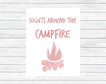 Camping Print - Woodland Decor - Kids Room Print - Camper Wall art - Nursery printable art - Woodland Nursery Decor - Digital