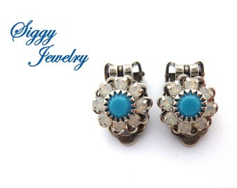 Swarovski Crystal Flower Earrings, Clip-On Non-Pierced, Turquoise, White Opals, Cluster Multi-Stone, Antique Silver Finish, Bridesmaids Gift