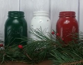 Christmas Mason Jars, Holiday Home Decor, Rustic Christmas Decor, Rustic Home Decor Mason Jars