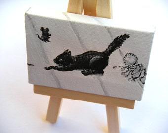 Kitty Chasing a Mouse Painting - ORIGINAL PAINTING - Tiny Painting