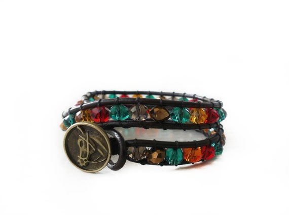 Wrap Bracelet, Boho Bracelet, Brown Leather Bracelet, Multicolor Crystals Bracelet,Horse Button Bracelet,Wide Bracelet,Double Wrap,Boho Chic