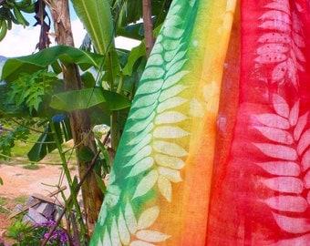 Handprinted Nature Embossed Cotton Gauze Scarf Shawl Made in Seychelles:  Rasta