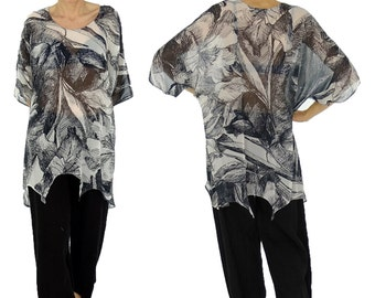 HP300ZB5 ladies blouse chiffon tunic layered look asymmetrical Gr. 36 - white/black