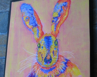 Small Jack Rabbit Pointillism Portrait Mounted on Board