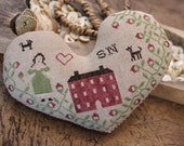 Primitive Cross Stitch Pattern - Heart Pinkeep - Choose Pattern Only or Pattern with Floss Kit