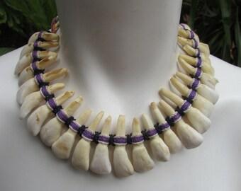 Tribal Tooth Necklace 25 Buffalo Teeth on Woven Cord