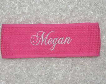 Monogrammed Spa Headband,Cotton Waffle Weave Headband, monorgrammed headband, Mothers day, Bride to be