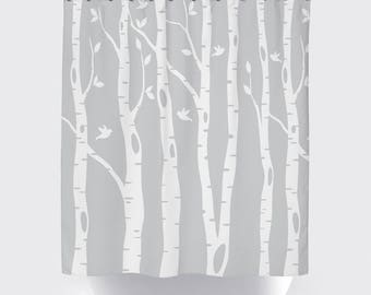 light gray shower curtain. Birch Tree Shower Curtain with Birds  Light Grey White OR ANY Colors Standard shower curtain Etsy