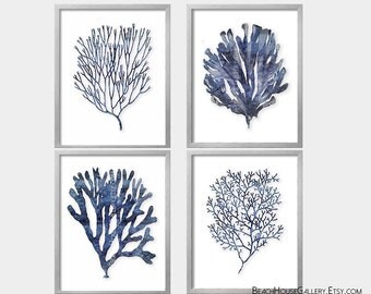 Seaweed Prints, Indigo Coral, Blue White Wall Art, Coastal Bedroom, Nautical Home Decor, Algae Coral Print, Set of 4, Nautical Bedroom Art