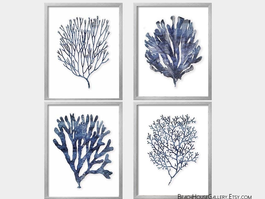 Seaweed prints indigo coral blue white wall art coastal for Black and white mural prints