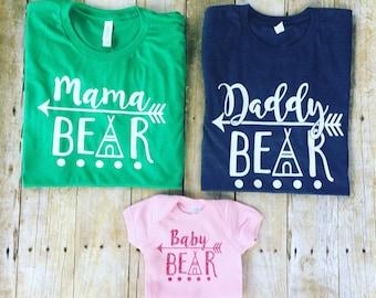 Mama Bear / Daddy Bear / Sister Bear / Brother Bear / Baby bear / Family bear / Bella + Canvas tee