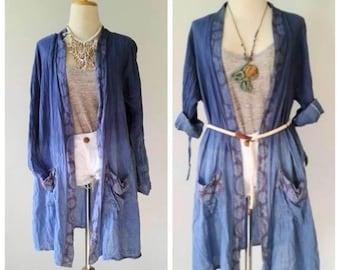 Handmade Light Jacket/Tie Dye Jacket/Long Jacket/ Spring Jacket/Boho Summer Jacket one size.
