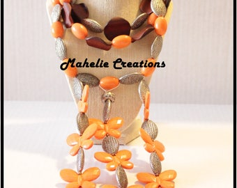 Multistrand statement necklace, big bold, chunky necklace, butterfly necklace, fall colors, orange brown, cascade necklace, fashion jewelry