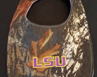 Louisiana State University Tigers Custom Camouflage Baby Bib